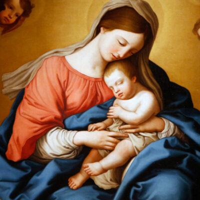 Corsini gallery, Rome. Giovanni Battista Salvi da Sassoferrato  Madonna col bambino ed angeli  17th c. Detail